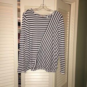 LOFT Black and White striped top